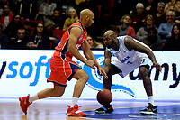 GRONINGEN -  Basketbal, Donar - New Heroes Den Bosch, Martiniplaza, Dutch Basketbal League, seizoen 2018-2019,  26-01-2019, Den Bosch speler Jonathan Williams met Donar speler LaRon Dendy