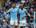Kyle Walker of Manchester City and Fernandinho of Manchester City reorganise after Mendy goes off injured during the premier league match at the Etihad Stadium, Manchester. Picture date 22nd September 2017. Picture credit should read: Simon Bellis/Sportimage