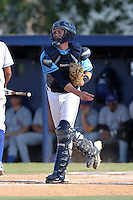 SCF Manatees catcher Brandon Patterson #8 during a game vs. Indian River State College at Robert C. Wynn Field in Bradenton, Florida;  February 22, 2011.  SCF defeated Indian River 3-0.  Photo By Mike Janes/Four Seam Images