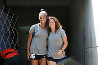 Cary, North Carolina  - Saturday August 19, 2017: Darian Jenkins and Elizabeth Eddy prior to a regular season National Women's Soccer League (NWSL) match between the North Carolina Courage and the Washington Spirit at Sahlen's Stadium at WakeMed Soccer Park. North Carolina won the game 2-0.