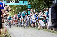Jakob Fuglsang (DEN/Astana) chasing on the cobbles. <br /> <br /> Stage 9: Arras Citadelle > Roubaix (154km)<br /> <br /> 105th Tour de France 2018<br /> ©kramon