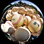 8 March 2011: A basket of baseball are ready for use in batting practice prior to a Spring Training game between the New York Yankees and the Atlanta Braves at Champion Park in Orlando, Florida. The Yankees edged out the Braves 5-4 in Grapefruit League action. Mandatory Credit: Ed Wolfstein Photo