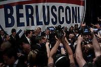 Milano: Silvio Berlusconi circondato dai suoi supporters al Palasharp, durante la campagna elettorale per l'elezione del sindaco di Milano.