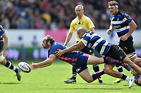 Julien Dupuy of Stade Francais passes the ball. European Rugby Challenge Cup Semi Final, between Stade Francais and Bath Rugby on April 23, 2017 at the Stade Jean-Bouin in Paris, France. Photo by: Patrick Khachfe / Onside Images