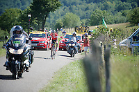 Suisse National Champion Martin Elmiger (SUI/IAM) leads the race (solo) over the C&ocirc;te de Rogna (7.6km/4.9%)<br /> <br /> 2014 Tour de France<br /> stage 11: Besan&ccedil;on - Oyonnax (187km)