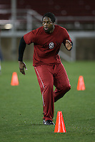 """9 February 2007: Pannel Egboh during a """"Friday Night Lights"""" practice at Stanford Stadium in Stanford, CA."""