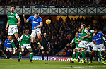 05.02.2020 Rangers v Hibs: George Edmundson wins a header and the ball rebounds back to him to prod in for Rangers equaliser