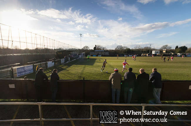Rushall Olympic 1 Workingon 0, 17/02/2018. Dales Lane, Northern Premier League Premier Division. Fans watching Workington attack. Photo by Paul Thompson.