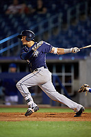 San Antonio Missions left fielder Nick Torres (11) follows through on a swing during a game against the Tulsa Drillers on June 1, 2017 at ONEOK Field in Tulsa, Oklahoma.  Tulsa defeated San Antonio 5-4 in eleven innings.  (Mike Janes/Four Seam Images)