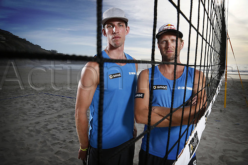 06.03.2013 Julius Brink and Sebastian Fuchs, Beach Volleyball players from Germany during a promotional photoshoot following the announcement by the German Volleyball Federation that they will be partners.