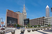 A view toward Tower City and the Terminal Tower from Quicken Loans Arena in Cleveland, Ohio.