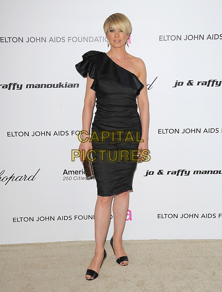 JENNA ELFMAN.19th Annual Elton John AIDS Foundation Academy Awards Viewing Party held at The Pacific Design Center, West Hollywood, California, USA..February 27th, 2011.full length dress clutch bag open toe shoes leopard print clutch bag black one shoulder silk satin .CAP/RKE/DVS.©DVS/RockinExposures/Capital Pictures.