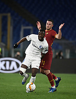 Football Soccer: UEFA Europa League round of 32 first leg AS Roma vs KAA Gent, Olympic stadium, Rome, 20 February, 2020.<br /> Gent's Elisha Owusu (l) in action with Roma's Jordan Veretout (r) during the Europa League football match between Roma and Gent at the Olympic stadium in Rome on 20 February, 2020.<br /> UPDATE IMAGES PRESS/Isabella Bonotto