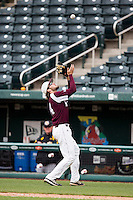 Spencer Johnson #34 of the Missouri State Bears catches a ball in foul territory during a game against the Wichita State Shockers at Hammons Field on May 5, 2013 in Springfield, Missouri. (David Welker/Four Seam Images)