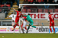Tranmere's Ritchie Sutton scores to  make it 1.0 scoring past Dean Brill during Leyton Orient vs Tranmere Rovers, Vanarama National League Football at the Matchroom Stadium on 10th February 2018