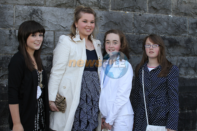 Nianh O'Connor, Laura Grimes, Emily Gough and Aoife O'Connor at Tullyallen NS. Confirmation....(Photo credit should read Jenny Matthews www.newsfile.ie)....This Picture has been sent you under the conditions enclosed by:.Newsfile Ltd..The Studio,.Millmount Abbey,.Drogheda,.Co Meath..Ireland..Tel: +353(0)41-9871240.Fax: +353(0)41-9871260.GSM: +353(0)86-2500958.email: pictures@newsfile.ie.www.newsfile.ie.