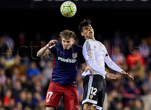 06.03.2016. Mestalla Stadium, Valencia, Spain. La Liga match between Valencia versus Atletico Madrid.  Midfielder Saul of Atletico Madrid (L) duels with the ball with Midfielder Danilo Barbosa of Valencia CF