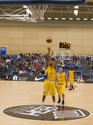 24.09.2010 British Basketball League Newcastle Eagles v Sheffield Sharks..Marcus Stout (8) Sharks Guar successfully takes a penalty.