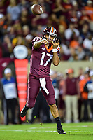 Blacksburg, VA - SEPT 30, 2017: Virginia Tech Hokies quarterback Josh Jackson (17) throws a pass during game between Clemson and Virginia Tech at Lane Stadium/Worsham Field Blacksburg, VA. (Photo by Phil Peters/Media Images International)