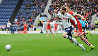 Preston North End's Tom Barkhuizen under pressure from Barnsley's Aapo Halme<br /> <br /> Photographer Kevin Barnes/CameraSport<br /> <br /> The EFL Sky Bet Championship - Preston North End v Barnsley - Saturday 5th October 2019 - Deepdale Stadium - Preston<br /> <br /> World Copyright © 2019 CameraSport. All rights reserved. 43 Linden Ave. Countesthorpe. Leicester. England. LE8 5PG - Tel: +44 (0) 116 277 4147 - admin@camerasport.com - www.camerasport.com