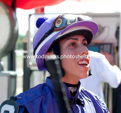 Jockey Irad Ortiz Jr. after piloting Pico Dinero to the winner's circle in the 6th.
