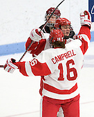 Jenn Wakefield (BU - 9), Caroline Campbell (BU - 16) - The Boston University Terriers defeated the Harvard University Crimson 5-2 on Monday, January 31, 2012, in the opening round of the 2012 Women's Beanpot at Walter Brown Arena in Boston, Massachusetts.