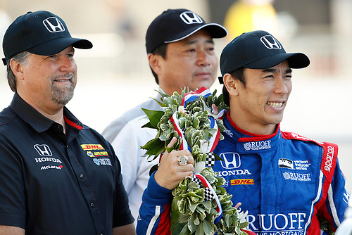 Verizon IndyCar Series<br /> Indianapolis 500 Winner Portrait<br /> Indianapolis Motor Speedway, Indianapolis, IN USA<br /> Monday 29 May 2017<br /> Winner  Takuma Sato, Andretti Autosport Honda<br /> World Copyright: Michael L. Levitt<br /> LAT Images