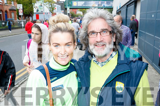 Orla Foley and John Foley (Killorglin and Offaly), pictured at the All Ireland SFC quarter final Kerry v Galway in Croke Park, Dublin on Sunday.