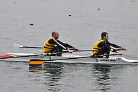 048 ChristchurchRC MasC.2x..Marlow Regatta Committee Thames Valley Trial Head. 1900m at Dorney Lake/Eton College Rowing Centre, Dorney, Buckinghamshire. Sunday 29 January 2012. Run over three divisions.
