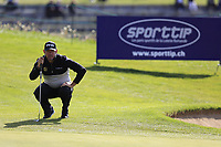 Lee Westwood (ENG) lines up his putt on the 17th green during Thursday's Round 1 of the 2017 Omega European Masters held at Golf Club Crans-Sur-Sierre, Crans Montana, Switzerland. 7th September 2017.<br /> Picture: Eoin Clarke | Golffile<br /> <br /> <br /> All photos usage must carry mandatory copyright credit (&copy; Golffile | Eoin Clarke)