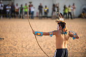 An indigenous Native American archer from the USA competes at the International Indigenous Games in the city of Palmas, Tocantins State, Brazil. Photo © Sue Cunningham, pictures@scphotographic.com 26th October 2015