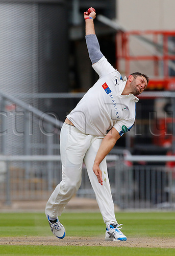 May 21st 2017, Emirates Old Trafford, Manchester, England; Specsavers County Championship Division One; Day Three; Lancashire versus Yorkshire; Tim Bresnan of Yorkshire bowls during the Lancashire first innings