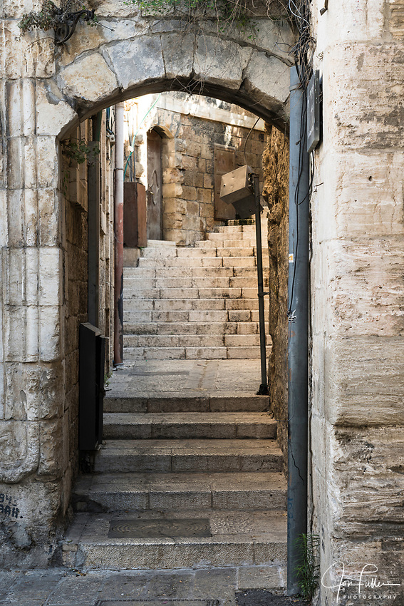 A passageway in the Muslim Quarter of the Old City of Jerusalem.  The Old City of Jerusalem and its Walls is a UNESCO World Heritage Site.