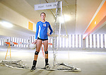 Green Bay Notre Dame volleyball star Erin Lehman is photographed at a downtown parking ramp in Green Bay.