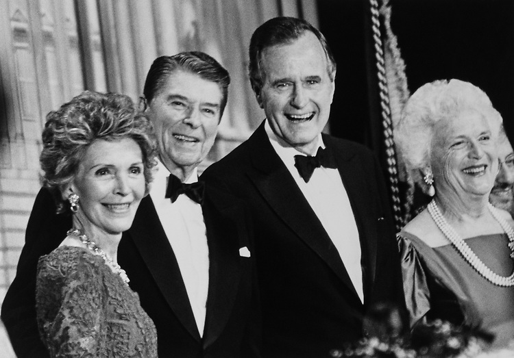President Ronald Reagan and his wife Nancy Reagan with Vice President George H. W. Bush and his wife Barbara Bush in 1988. (Photo by Andrea Mohin/CQ Roll Call via Getty Images)