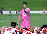 Match referee Boris Jurina sets a scrum in the Jock Hobbs Memorial Under-19 Provincial rugby union tournament Michael Jones Trophy final between Tasman and Counties Manukau at Owen Delaney Park, Taupo, New Zealand on Saturday, 03 October 2015. Photo: Kerry Marshall / lintottphoto.co.nz