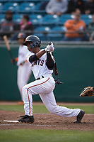 San Jose Giants second baseman Jalen Miller (2) follows through on his swing during a California League game against the Modesto Nuts at San Jose Municipal Stadium on May 15, 2018 in San Jose, California. Modesto defeated San Jose 7-5. (Zachary Lucy/Four Seam Images)