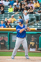 Andy Wilkens (38) of the Oklahoma City Dodgers at bat against the Salt Lake Bees in Pacific Coast League action at Smith's Ballpark on May 25, 2015 in Salt Lake City, Utah.  (Stephen Smith/Four Seam Images)