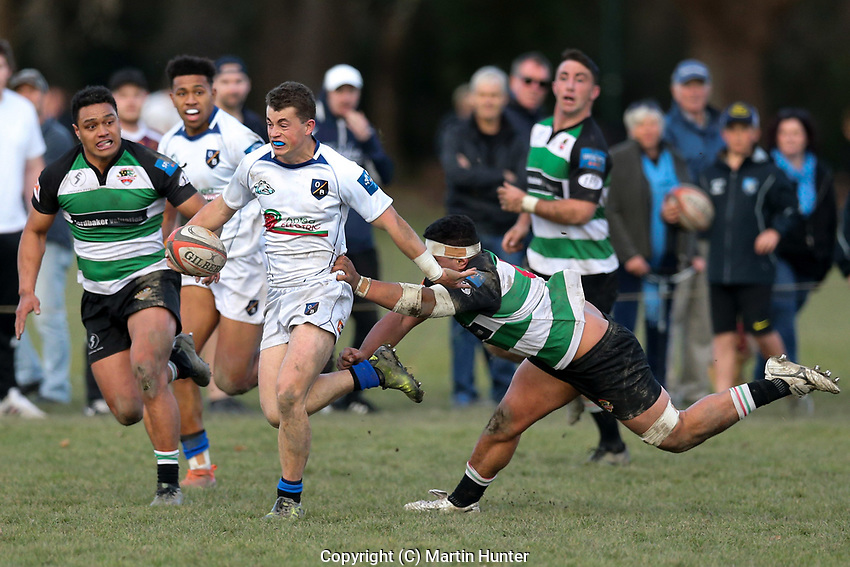 Action from the Canterbury Metro premier club rugby match between High School Old Boys and Marist Albion at Bob Deans Field in Christchurch, New Zealand on Saturday, 13 July 2019. Photo: Martin Hunter / lintottphoto.co.nz