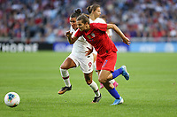 Saint Paul, MN - SEPTEMBER 03: Ana Borges #9 of Portugal and Tobin Heath #17 of the United States during their 2019 Victory Tour match versus Portugal at Allianz Field, on September 03, 2019 in Saint Paul, Minnesota.