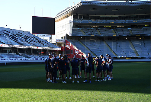 20th March 2018, Eden Park, Auckland, New Zealand;  Team huddle.<br /> New Zealand Blackcaps twilight training session ahead of the 1st day/night test match against England