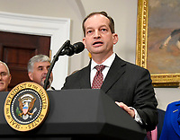 United States Secretart of Labor Alex Acosta makes remarks introducing US President Donald J. Trump who will sign an Executive Order to promote healthcare choice and competition in the Roosevelt Room of the White House in Washington, DC on Thursday, October 12, 2017.  The President's controversial plan is designed to make lower-premium health insurance plans more widely available.<br /> Credit: Ron Sachs / Pool via CNP /MediaPunch