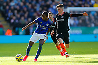 1st February 2020; King Power Stadium, Leicester, Midlands, England; English Premier League Football, Leicester City versus Chelsea; Ricardo Pereira of Leicester City is challenged by Mason Mount of Chelsea