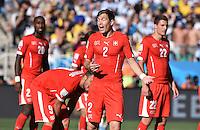 FUSSBALL WM 2014                ACHTELFINALE Argentinien - Schweiz                  01.07.2014 Johan Djourou, Haris Seferovic, Stephan Lichtsteiner, und Fabian Schaer (v.l., alle Schweiz)