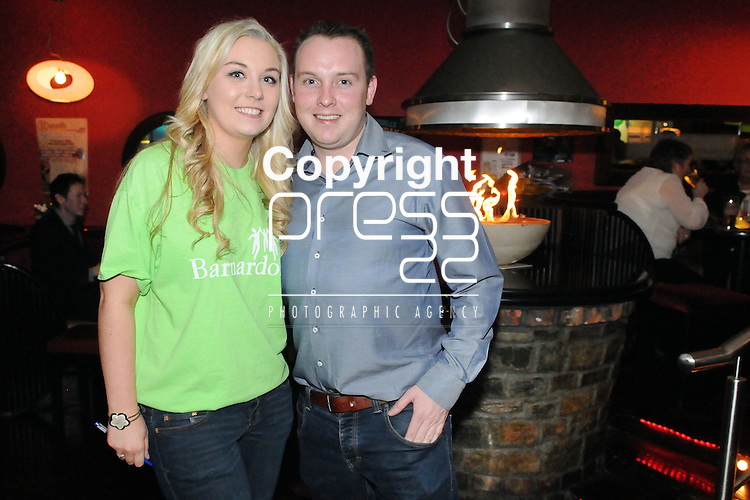 30/1/2015  Attending the 100 Miles Charity Race Night at Russells Bar, Raheen, were Alison Kiely, 100 miles Race Night Organiser and Thomas O' Sullivan, Russells Bar.<br /> Pic: Gareth Williams / Press 22