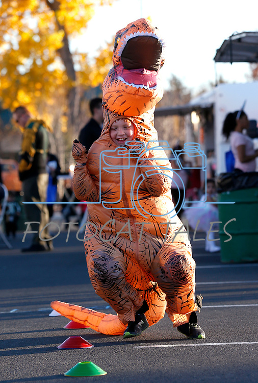 Matthew Harmon, 10, runs an obstacle course at the Carson City Boo-nanza event, in Carson City, Nev., on Tuesday, Oct. 30, 2018. <br /> Photo by Cathleen Allison/Nevada Momentum