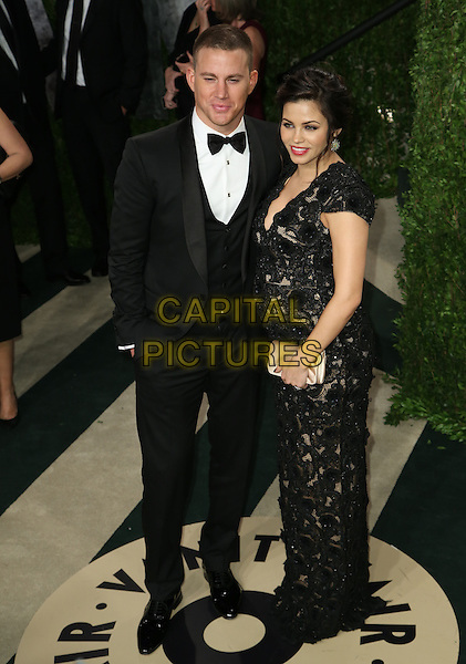 Channing Tatum, Jenna Dewan-Tatum.2013 Vanity Fair Oscar Party following the 85th Academy Awards held at the Sunset Tower Hotel, West Hollywood, California, USA..February 24th, 2013.oscars full length dress pregnant married husband wife lace tuxedo black white shirt bow tie gold clutch bag.CAP/ADM/SLP/DOW.©Dowling/StarlitePics/AdMedia/Capital Pictures