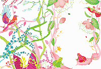 Different coloured birds and frogs sitting among delicate flowers and branches