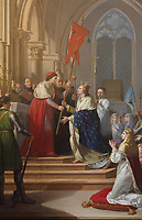 Saint-Louis accepting the oriflamme or battle standard in Saint-Denis, in 1248, detail of a painting by Jean-Jacques Francois le Barbier, the Elder, 1738-1826, in the sacristy of the Basilique Saint-Denis, Paris, France. The basilica is a large medieval 12th century Gothic abbey church and burial site of French kings from 10th - 18th centuries. Picture by Manuel Cohen