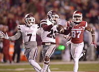 NWA Democrat-Gazette/BEN GOFF @NWABENGOFF<br /> Taveze Calhoun (23), Mississippi State defender, nearly intercepts an incomplete pass intended for Dominique Reed (87), Arkansas wide receiver, in the first quarter on Saturday Nov. 21, 2015 during the game in Razorback Stadium in Fayetteville.